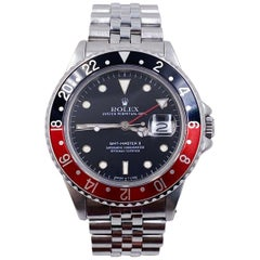 Rolex GMT Master II 16760 Fat Lady Coke Red Black Stainless Box Paper Unpolished