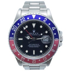Rolex GMT Master II 16760 Fat Lady Pepsi Red and Blue Bezel Stainless Faded Red