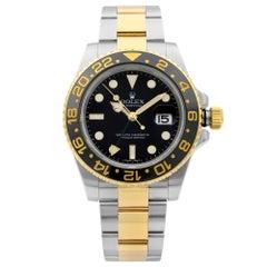 Rolex GMT-Master II 18K Gold Steel Black Dial Automatic Men's Watch 116713LN