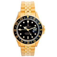 Rolex GMT, Master II 18 Karat Yellow Gold Watch 16718 Black Dial