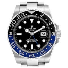 Rolex GMT Master II Batman Blue Black Bezel Steel Watch 116710 Box Card