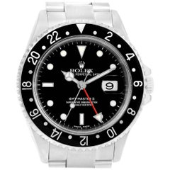Rolex GMT Master II Black Bezel Red Hand Men's Watch 16710 Box