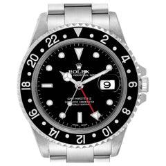 Rolex GMT Master II Black Bezel Red Hand Steel Men's Watch 16710