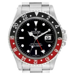 Rolex GMT Master II Black Red Coke Bezel Men's Watch 16710 Box Papers