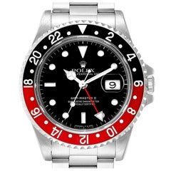 Rolex GMT Master II Black Red Coke Bezel Steel Men's Watch 16710