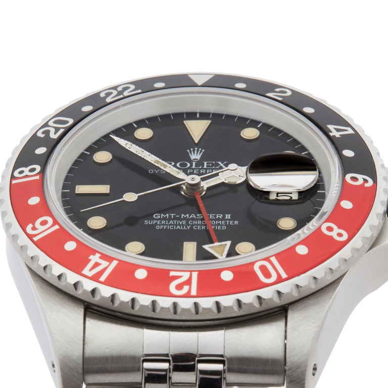 Men's Rolex GMT-Master II Coke Fat Ladies Mk1 Stainless Steel 16760 For Sale