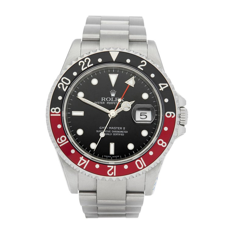Rolex GMT-Master II Coke Rectangular Dial Stainless Steel 16710 For Sale