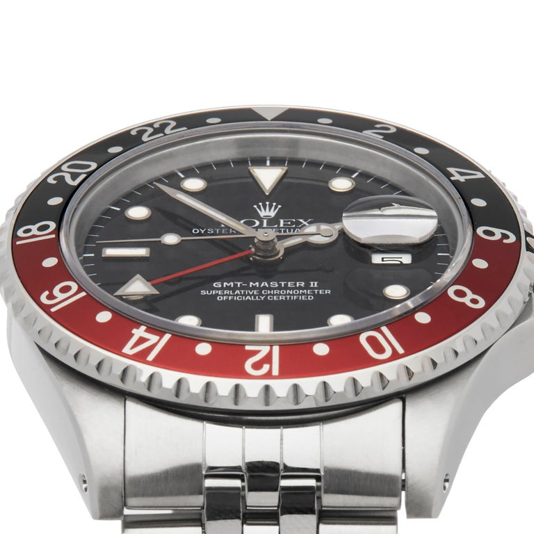 Rolex GMT-Master II Coke Stainless Steel 16710 In Excellent Condition For Sale In Bishops Stortford, Hertfordshire