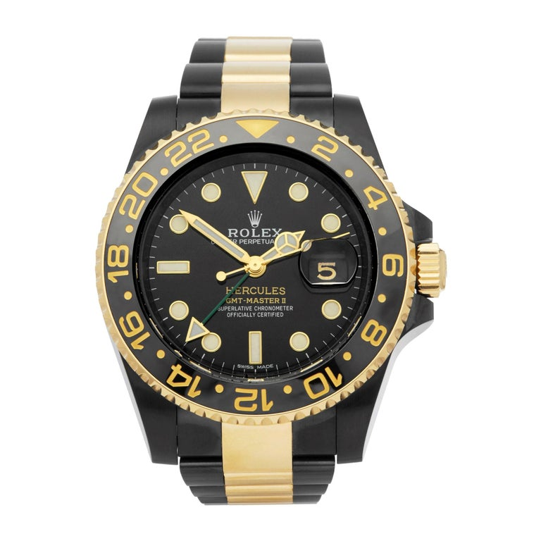 Rolex GMT-Master II Hercules Dlc Coated Stainless Steel and 18 Karat Gold 116713 For Sale