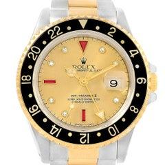 Rolex GMT Master II Men's 18 Karat Yellow Gold Steel Serti Dial Watch 16713