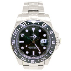 Rolex GMT-Master II Men's Steel Watch Black Dial Ceramic Bezel 116710LN