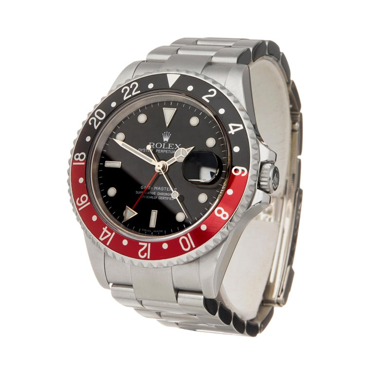 Reference: W6014 Manufacturer: Rolex Model: GMT-Master II Model Reference: 16710 Age: 1st June 2011 Gender: Men's Box and Papers: Box, Manuals and Guarantee Dial: Black Glass: Sapphire Crystal Movement: Automatic Water Resistance: To Manufacturers