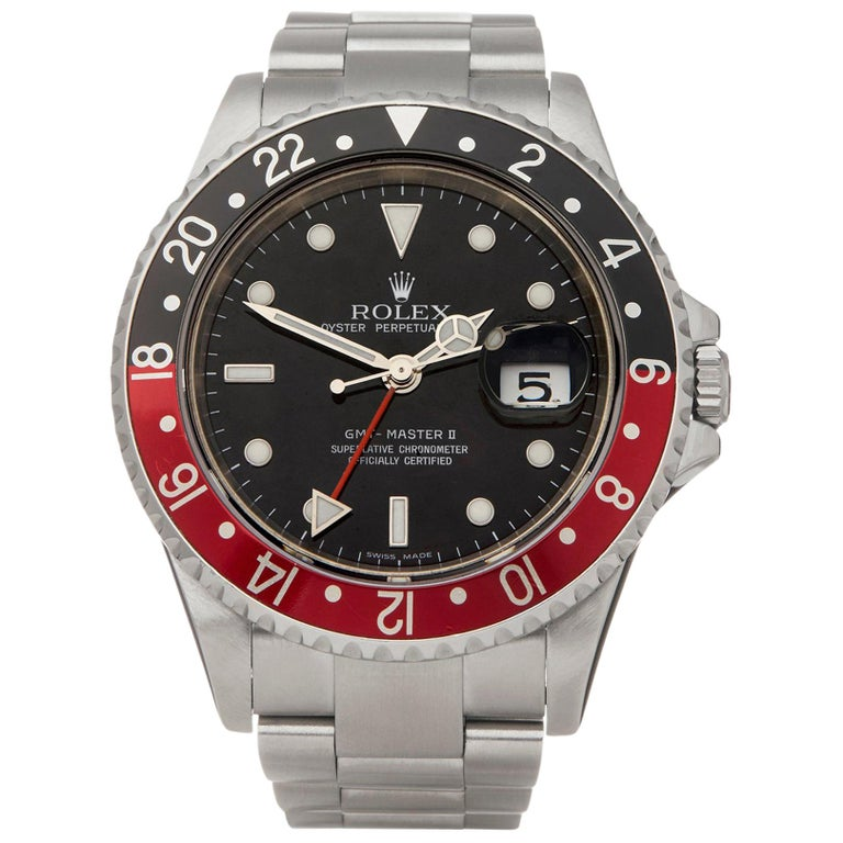 Rolex GMT-Master II Rectangular Dial Stainless Steel 16710 Wristwatch For Sale