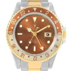 Rolex GMT Master II Rootbeer Yellow Gold Steel Men's Watch 16713