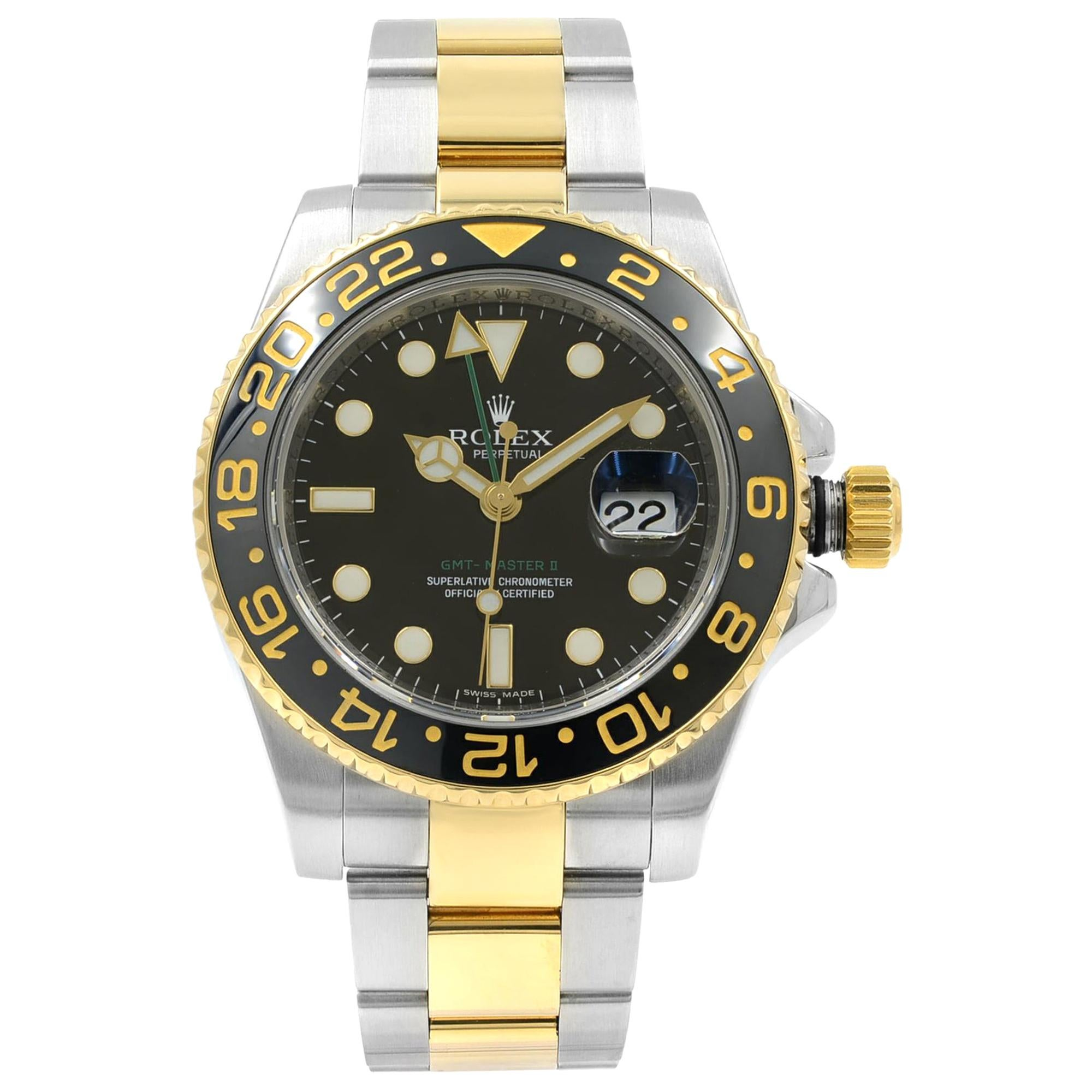 Rolex GMT-Master II Steel 18K Gold Black Dial Automatic Mens Watch 116713LN