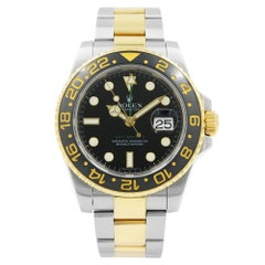 Rolex GMT-Master II Steel Gold Black Dial Black Ceramic Bezel Automatic 116713