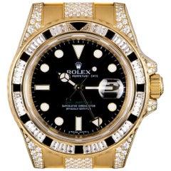 Rolex GMT-Master II Yellow Gold Black Dial Sapphire & Diamond Set B&P 116758SANR