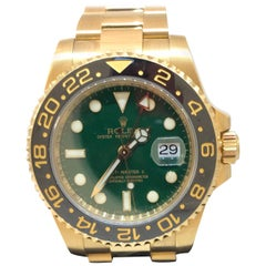 Rolex GMT Master II Yellow Gold Green Dial Oyster Bracelet Men's Watch 116718GSO