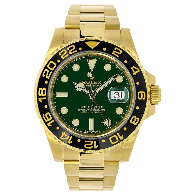 Rolex GMT Master II Yellow Gold Green Dial Watch 116718 For Sale