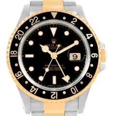 Rolex GMT Master II Yellow Gold Steel Black Dial Men's Watch 16713