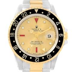 Rolex GMT-Master II Yellow Gold Steel Diamond Ruby Serti Dial Watch 16713