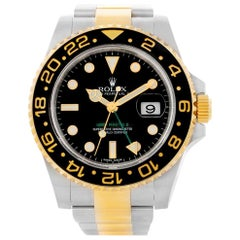Rolex GMT Master II Yellow Gold Steel Men's Watch 116713 Box Card