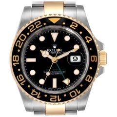 Rolex GMT Master II Yellow Gold Steel Men's Watch 116713 Box Papers
