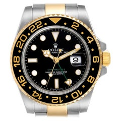 Rolex GMT Master II Yellow Gold Steel Mens Watch 116713