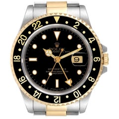 Rolex GMT Master II Yellow Gold Steel Oyster Bracelet Men's Watch 16713