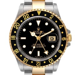 Rolex GMT Master II Yellow Gold Steel Oyster Bracelet Watch 16713 Box Papers