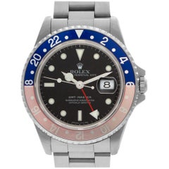 "Rolex GMT-Master ""Pepsi"" 16700 Stainless Steel Black Dial Automatic Watch"