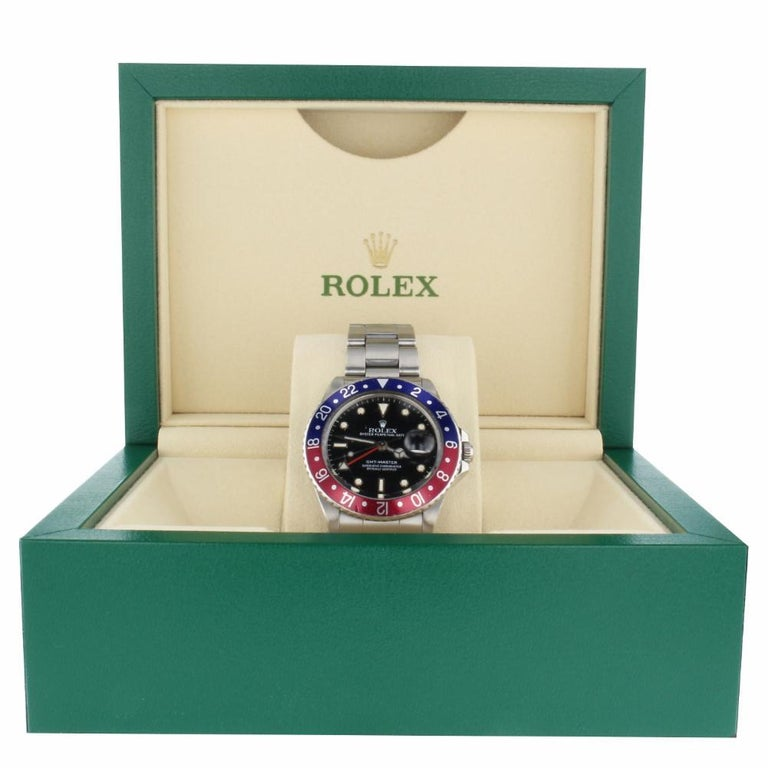 Contemporary Rolex GMT Master Pepsi Bezel Men's Steel Watch with Box 16750, circa 1988