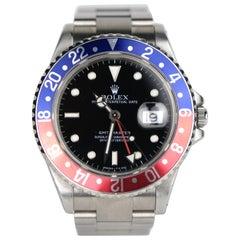 "Rolex GMT, Master ""Pepsi"" Bezel Stainless Steel Automatic Wristwatch, Vintage"