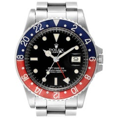 Rolex GMT Master Pepsi Bezel Vintage Steel Men's Watch 16750