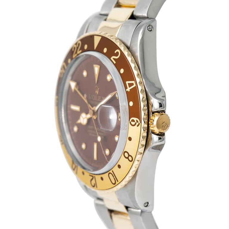 Contemporary Rolex GMT-Master Root Beer 1675 Automatic 18K TT Watch Matt Nipple Dial W/Papers For Sale
