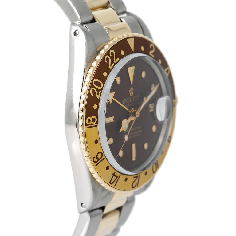 Rolex GMT-Master Root Beer 1675 Automatic 18K TT Watch Matt Nipple Dial W/Papers In Good Condition For Sale In Miami, FL