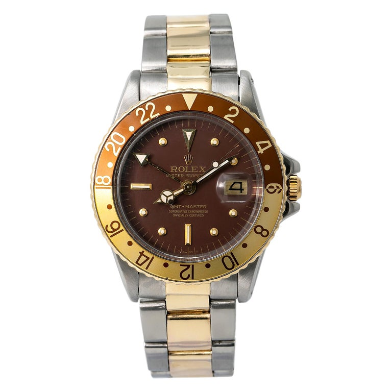 Rolex GMT-Master Root Beer 1675 Automatic 18K TT Watch Matt Nipple Dial W/Papers For Sale