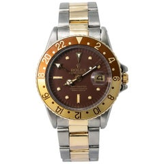 Rolex GMT-Master Root Beer 1675 Automatic Watch Matte Nipple Dial Service Papers