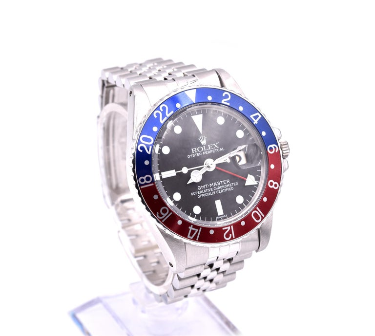 Men's Rolex GMT Master Stainless Steel GMT Master Pepsi Watch Ref 1675 For Sale