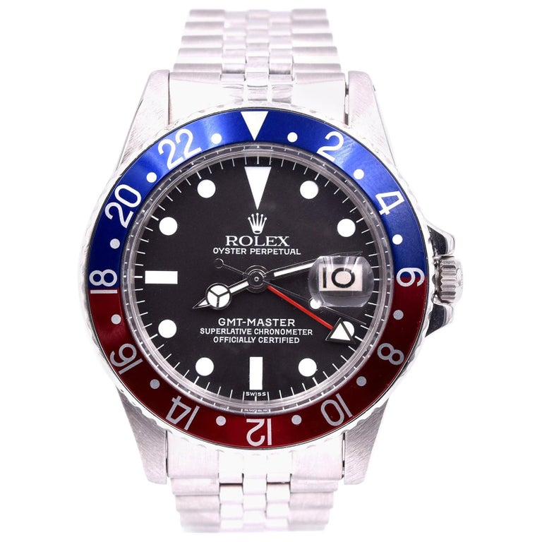 Rolex GMT Master Stainless Steel GMT Master Pepsi Watch Ref 1675 For Sale