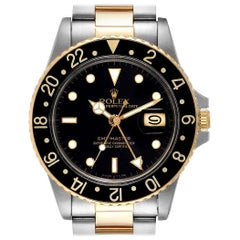 Rolex GMT Master Steel Yellow Gold Black Dial Vintage Men's Watch 16753