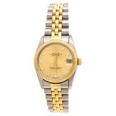 Rolex Gold 18K Yellow Gold Stainless Steel Diamonds  Women's Wristwatch 31 mm