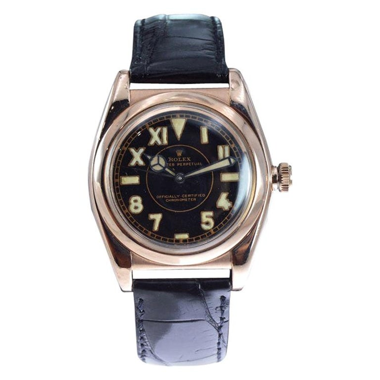 Rolex Gold and Steel Tropical Series with California Romabic Dial from 1940s For Sale