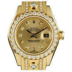 Rolex Gold Diamond Datejust Pearlmaster Super Masterpiece Big Karat Bracelet