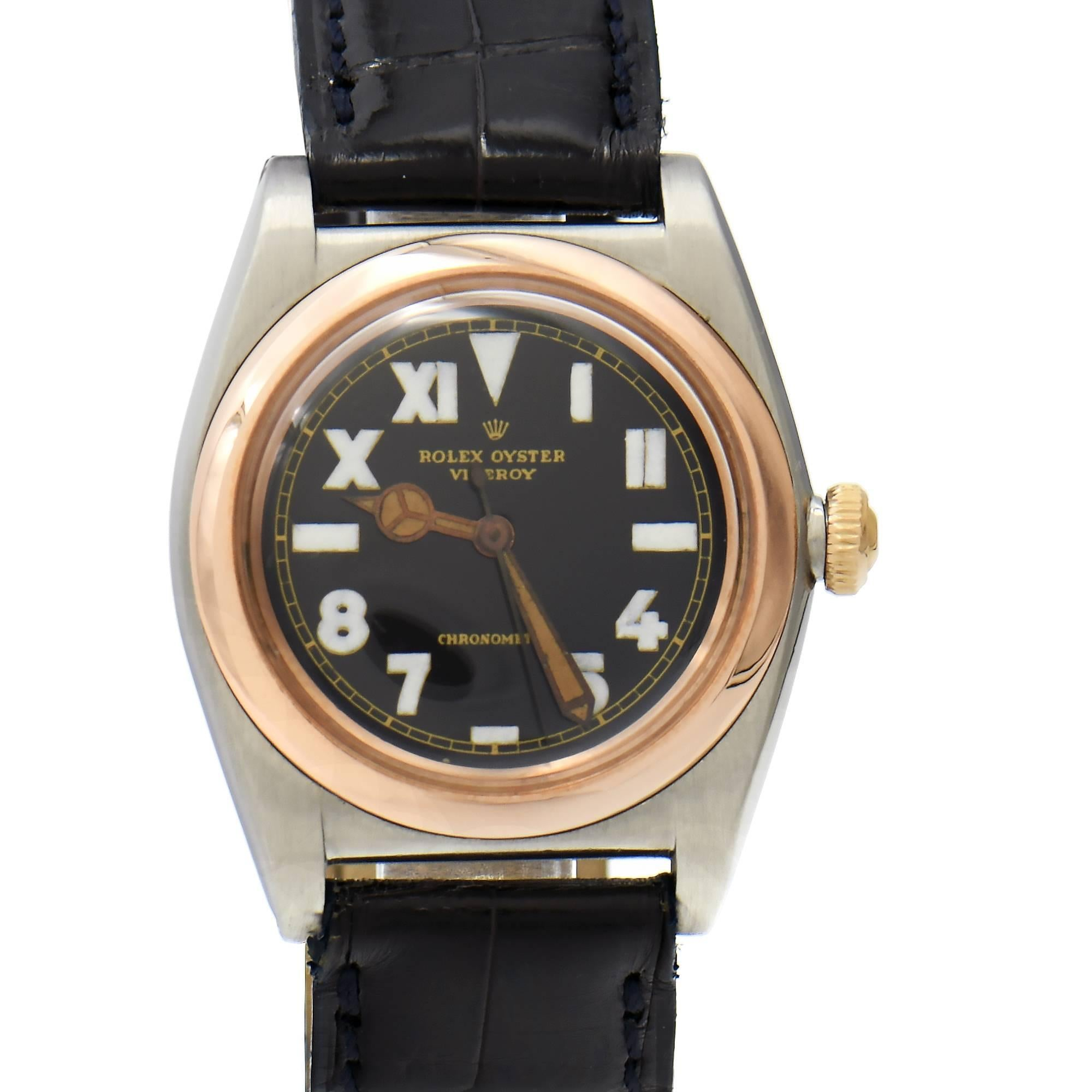 Rolex Rose Gold Steel Bubbleback Chronometer California Dial Wristwatch Ref 3133