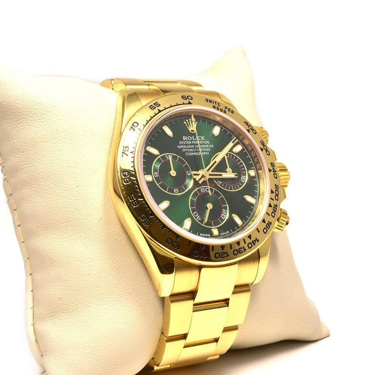 Rolex Green Daytona 116508 in Gold on Oyster Bracelet Original Green Dial 2