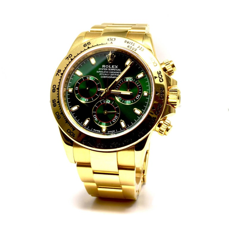 Rolex Green Daytona 116508 in Gold on Oyster Bracelet Original Green Dial 3