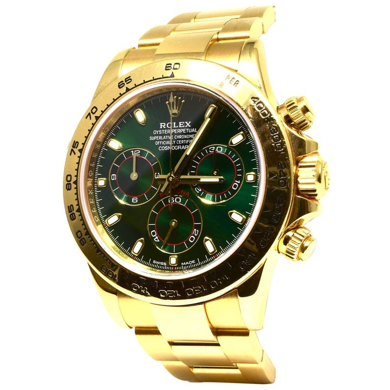 Rolex Green Daytona 116508 in Gold on Oyster Bracelet Original Green Dial