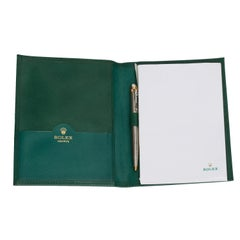 Rolex Green Leather Notepad with Two tone Rolex pen  - Brand new Rolex notepad w