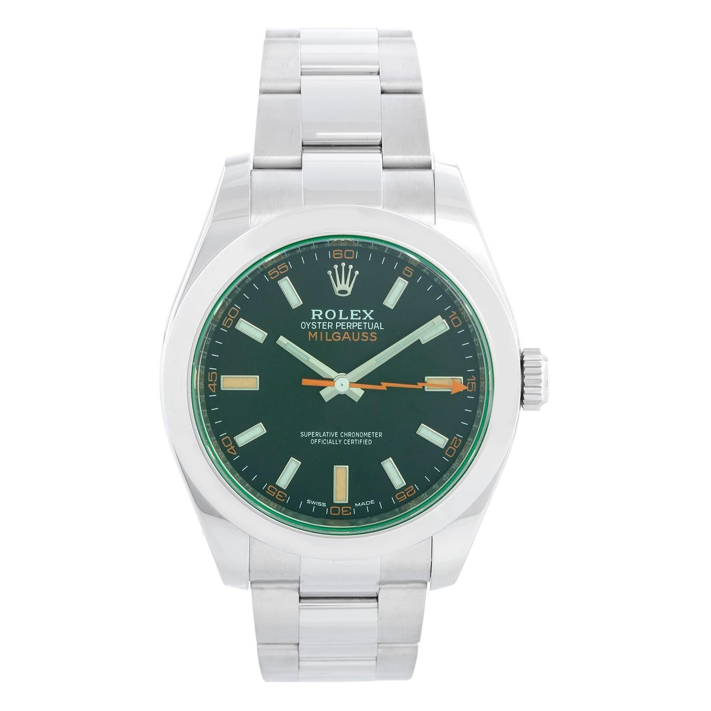 "Rolex ""Green"" Milgauss Stainless Steel Men's Watch 116400 V"